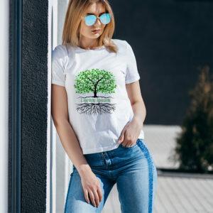 camiseta blanca sublimada diseño arbol