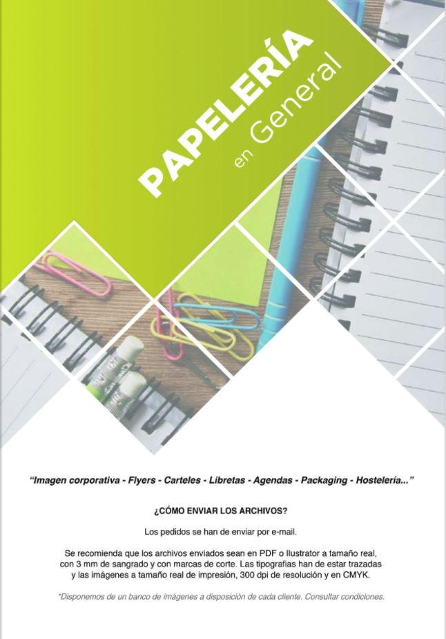 portada de catalogo papelería en general